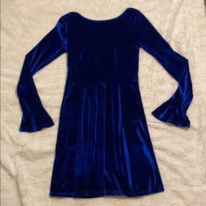 ASOS blue velvet scoop back dress.